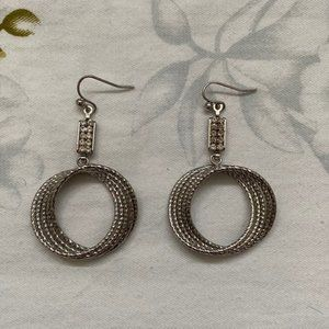 Cache Silver Textured Circle Earrings